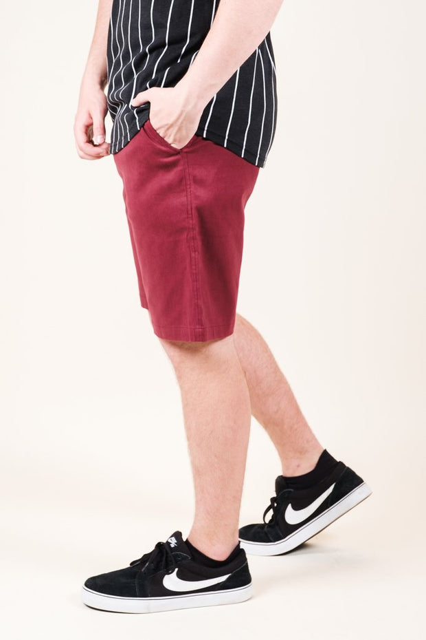 Burgundy Twill Jogger Shorts for Men