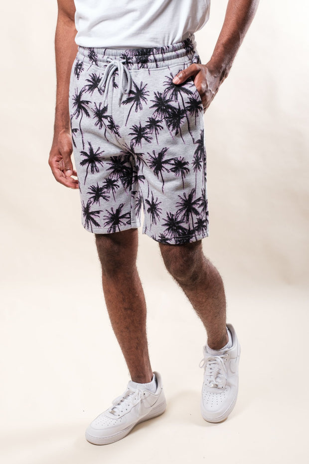 Heather Grey Palm Tree Print Shorts