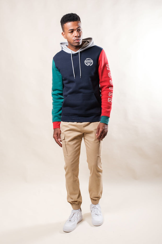 Navy Hustle Color Block Hoodie
