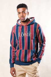 Burgundy Vertical Stripe Hoodie with Rome Logo