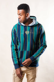 Green Vertical Stripe Hoodie by Brooklyn Cloth