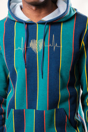 "Green Vertical Stripe ""Broken Hearts"" Logo Hoodie"