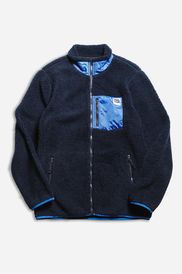 Original Garment Navy Sherpa Zip Up Jacket