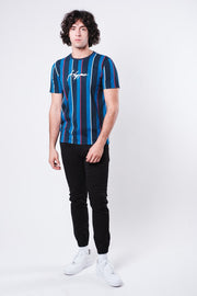 Blue Hype Print Vertical Stripe Tee