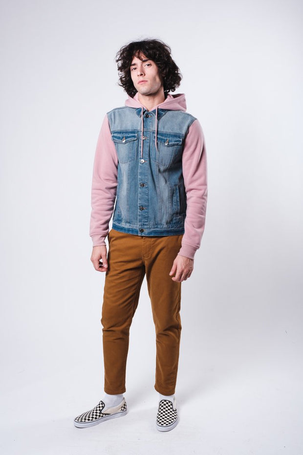Dusty Rose Knit Sleeve Denim Jacket
