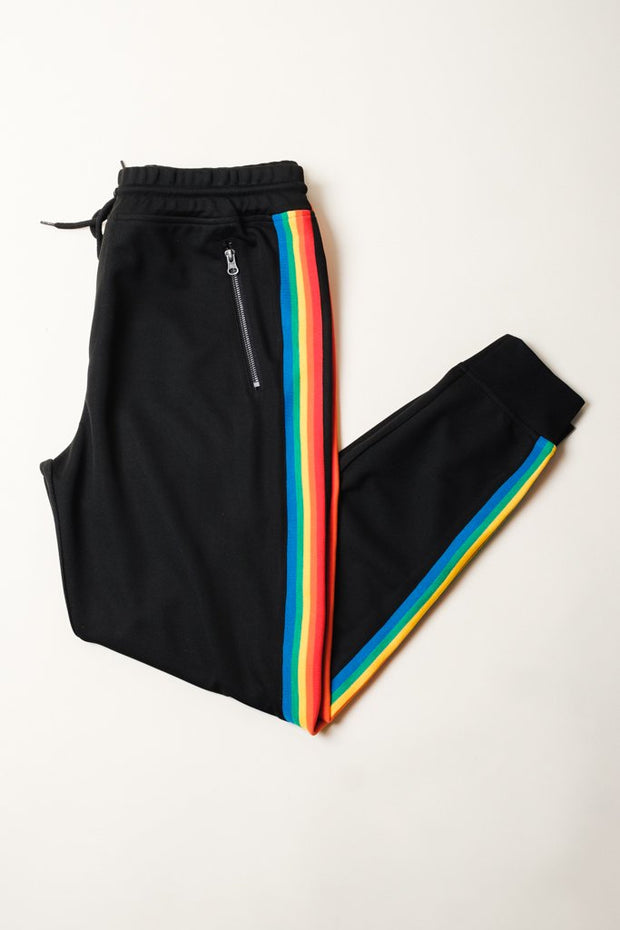 Black Rainbow Track Jogger Pants
