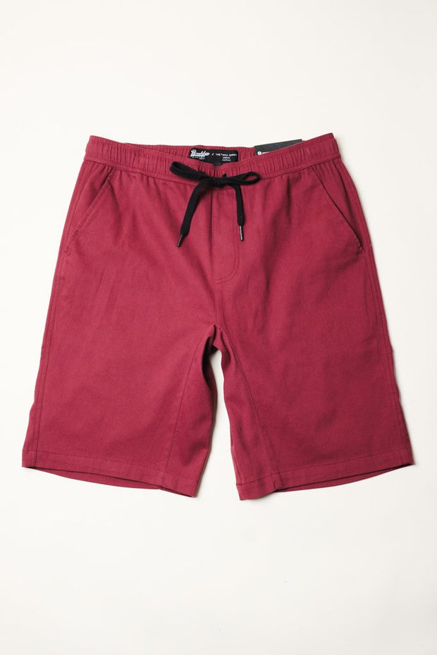 Burgundy Twill Jogger Shorts at Brooklyn Cloth
