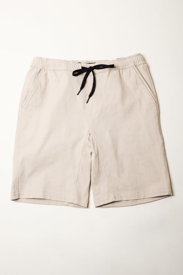 Khaki Twill Jogger Shorts at Brooklyn Cloth