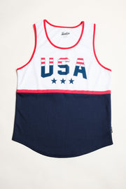 White USA Print Air Mesh Tank Top for Men