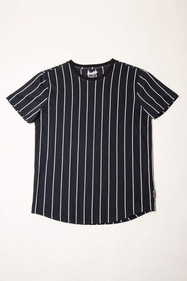 Black Vertical Striped Tee for Men