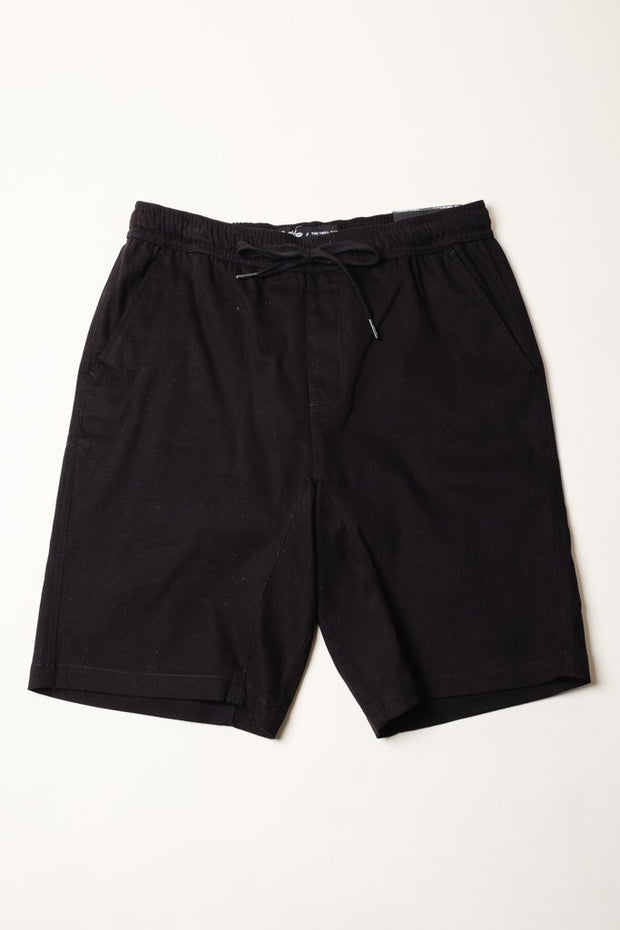 Black Twill Jogger Shorts at Brooklyn Cloth
