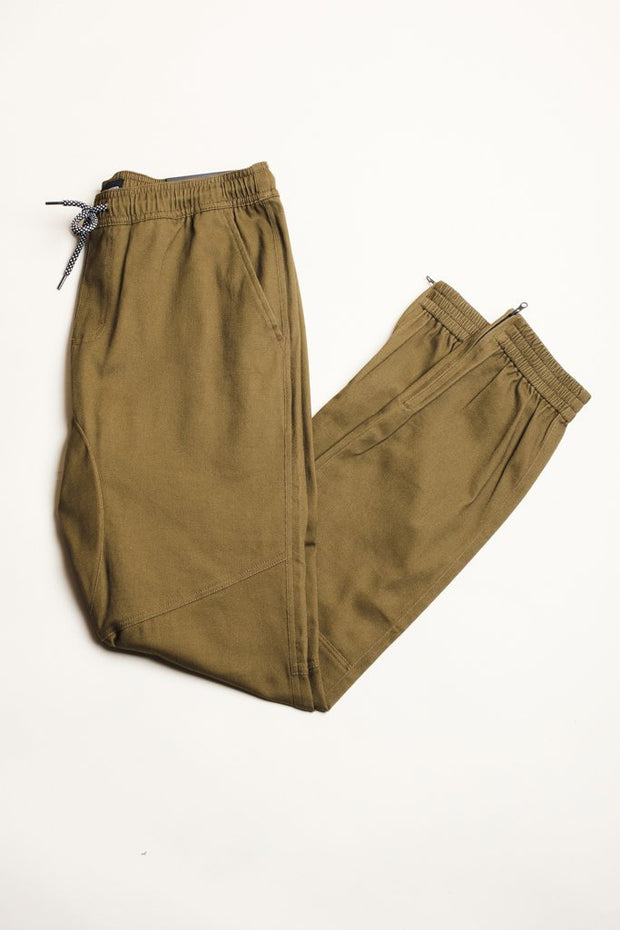 Men's Army Green Ankle Zip Twill Jogger Pants