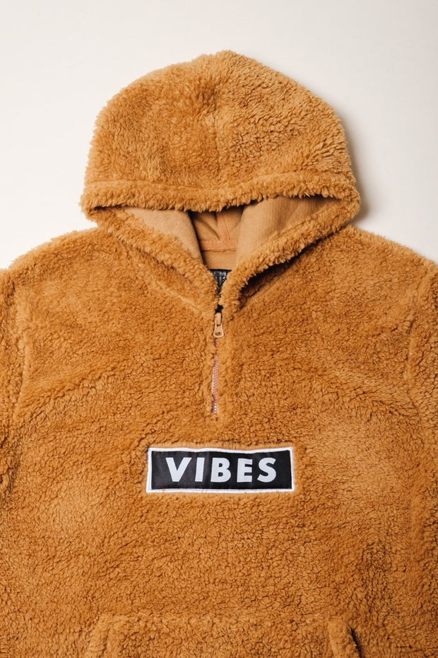 Boys Brown Vibes Quarter Zip Sherpa Hoodie