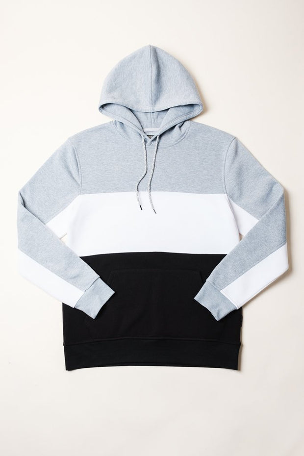 Basic Color Block Hoodie in Grey