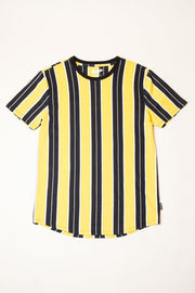 Gold Printed Vertical Striped Tee at Brooklyn Cloth