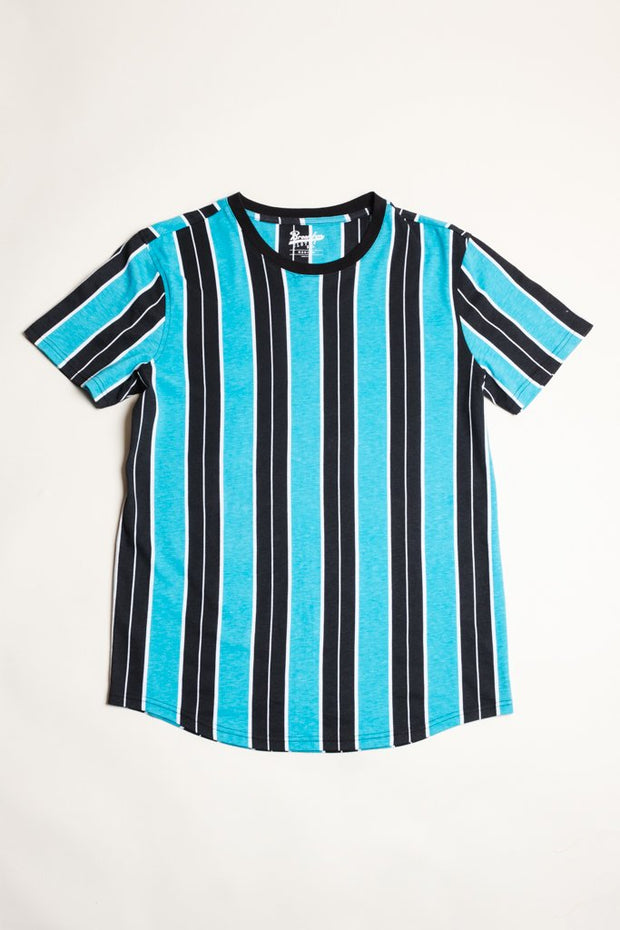 Teal Printed Vertical Striped Tee at Brooklyn Cloth