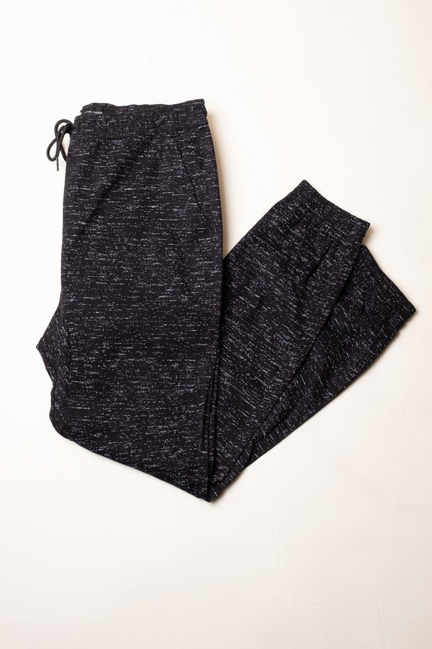 Boy's Black Space Dye Twill Jogger Pants
