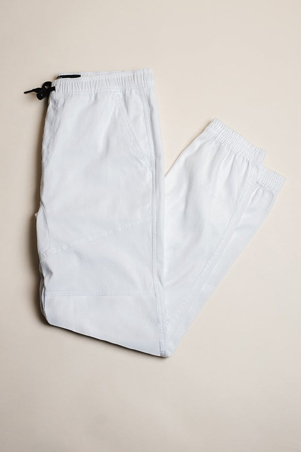 Brilliant White Twill Jogger Pants