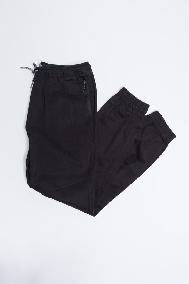 Black Side Zipper Pocket Twill Jogger Pants