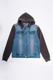Medium Wash Knit Sleeve Jacket