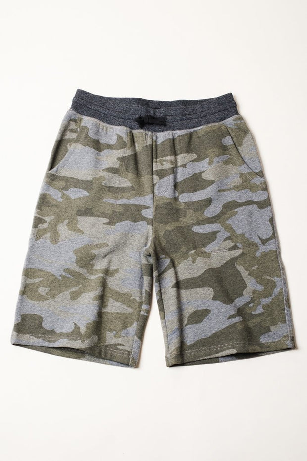 Boy's Olive Printed Camo Jogger Shorts