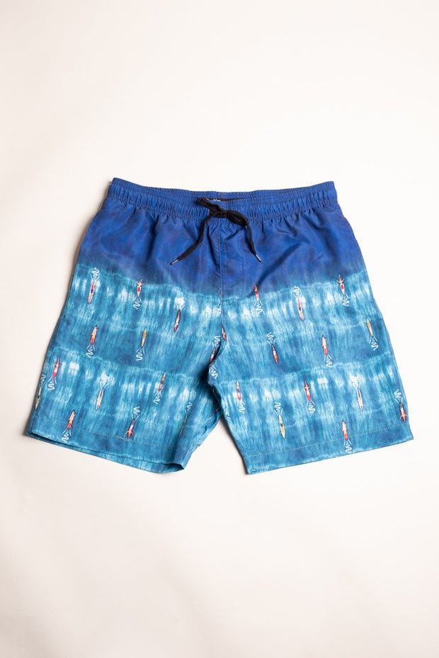 Boys Surfer Tie Dye Swim Trunks at Brooklyn Cloth