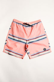 Pink Men's Striped Swim Trunks