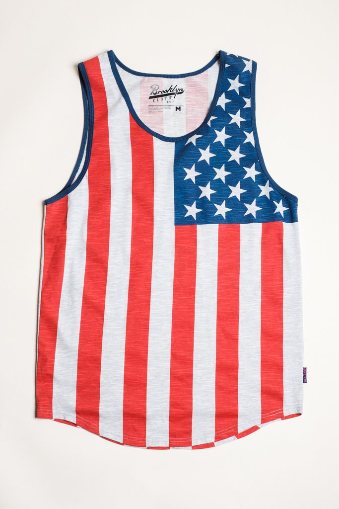 Grey American Flag Tank Top