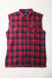 Red Sleeveless Plaid Woven Shirt for Men