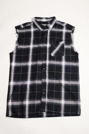 Black Sleeveless Plaid Woven Shirt for Men