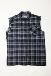 Mens Grey Sleeveles Plaid Woven Shirt
