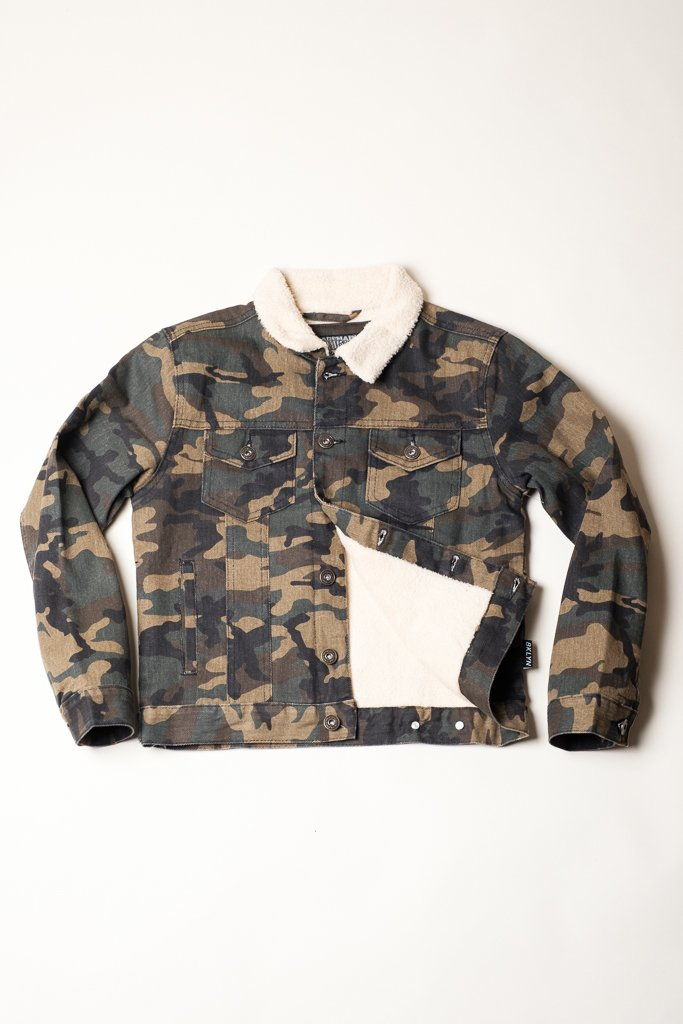 Boy's Camo Sherpa Collar Jacket