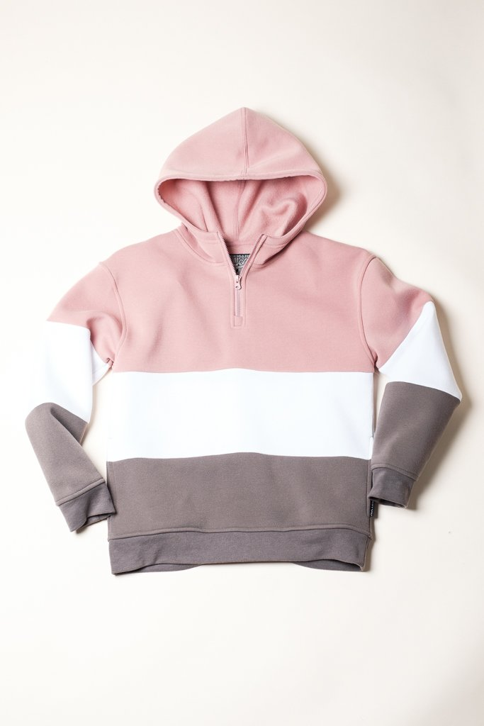 Boys Pink Mock Neck Quarter Zip Hoodie