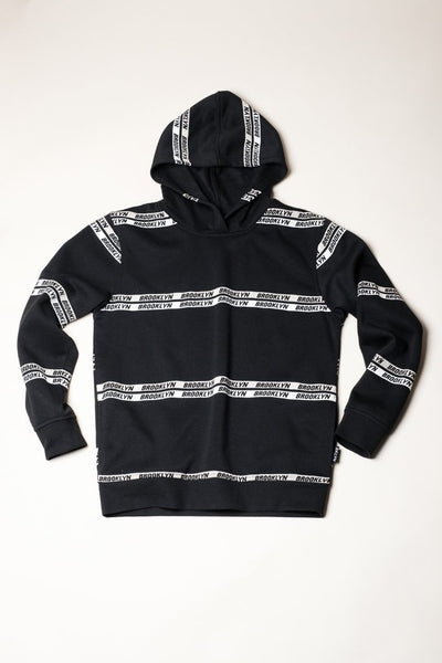Black Brooklyn Logo Hoodie for Men