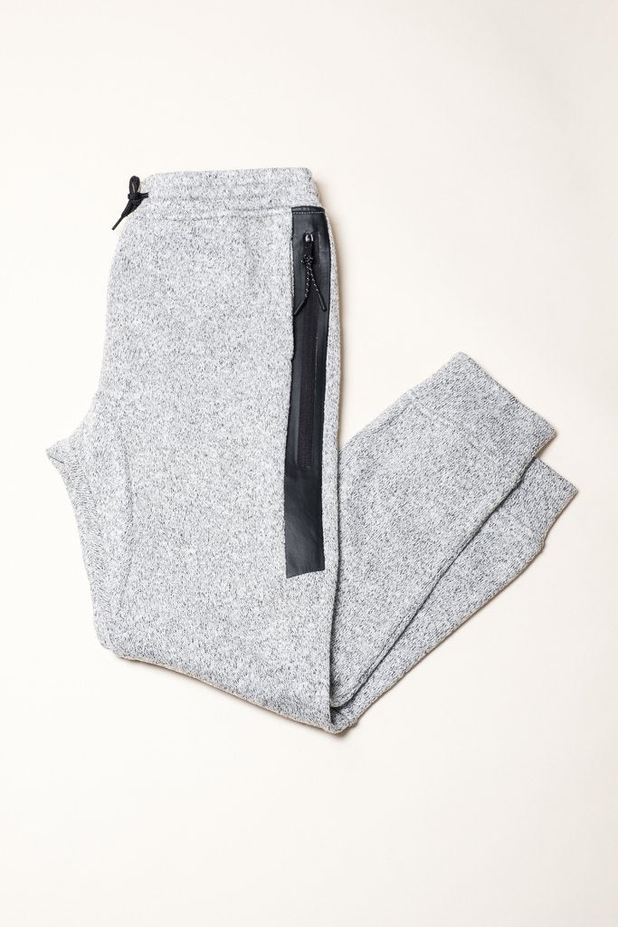 Grey Marl Heat Sealed Zip Cozy Knit Joggers