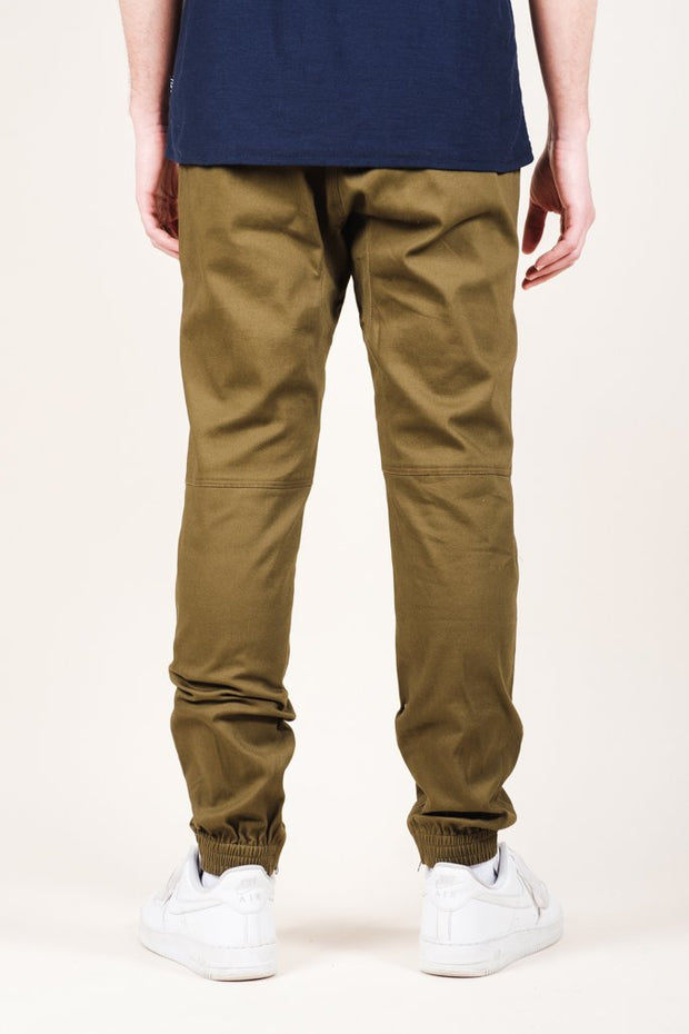 Men's Brooklyn Cloth Army Green Ankle Zip Twill Jogger Pants