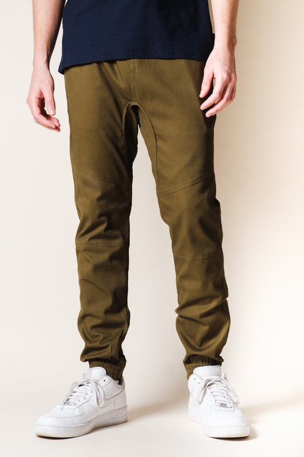 Army Green Ankle Zip Twill Jogger Pants for Mens