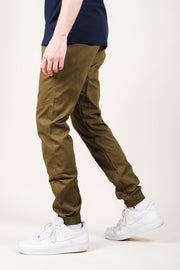 Army Green Ankle Zip Twill Jogger Pants
