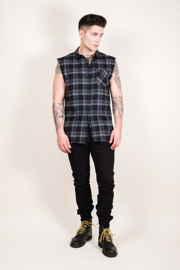 Brooklyn Cloth Grey Sleeveless Plaid Woven Shirt for Men