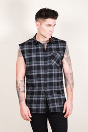 Grey Sleeveless Plaid Woven Shirt for Men