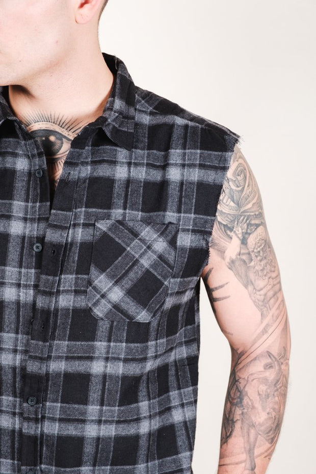 Grey Sleeveless Plaid Woven Shirt