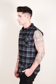 Men's Grey Sleeveless Plaid Woven Shirt