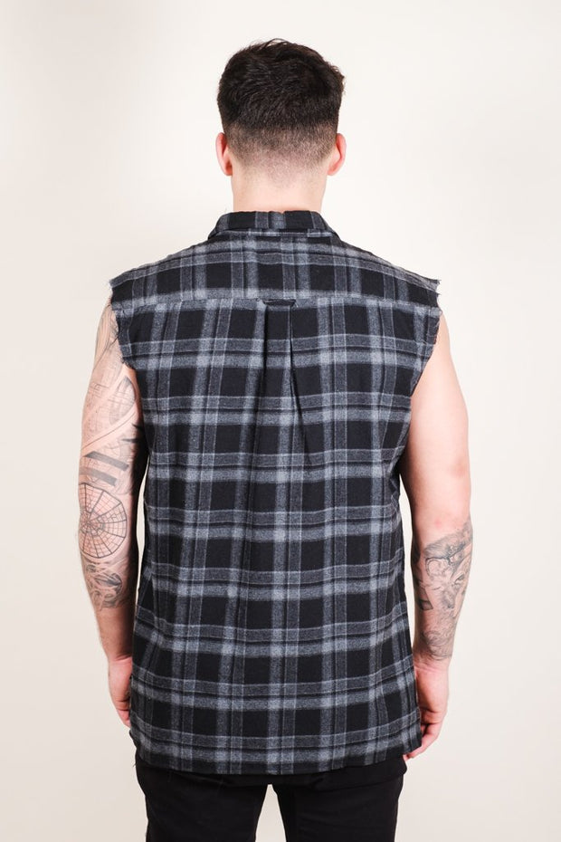Brooklyn Cloth Grey Sleeveless Plaid Woven Shirt