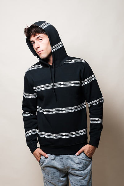 Black Brooklyn Striped Hoodie