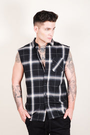 Men's Black Sleeveless Plaid Woven Shirt