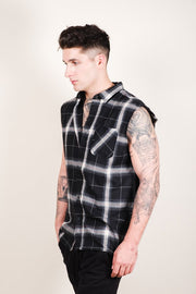 Brooklyn Cloth Black Sleeveless Plaid Woven Shirt