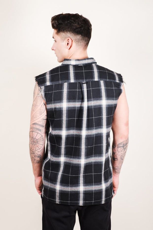 Brooklyn Cloth Black Sleeveless Plaid Woven Shirt for Men