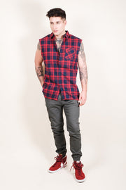 Brooklyn Cloth Men's Red Sleeveless Plaid Woven Shirt