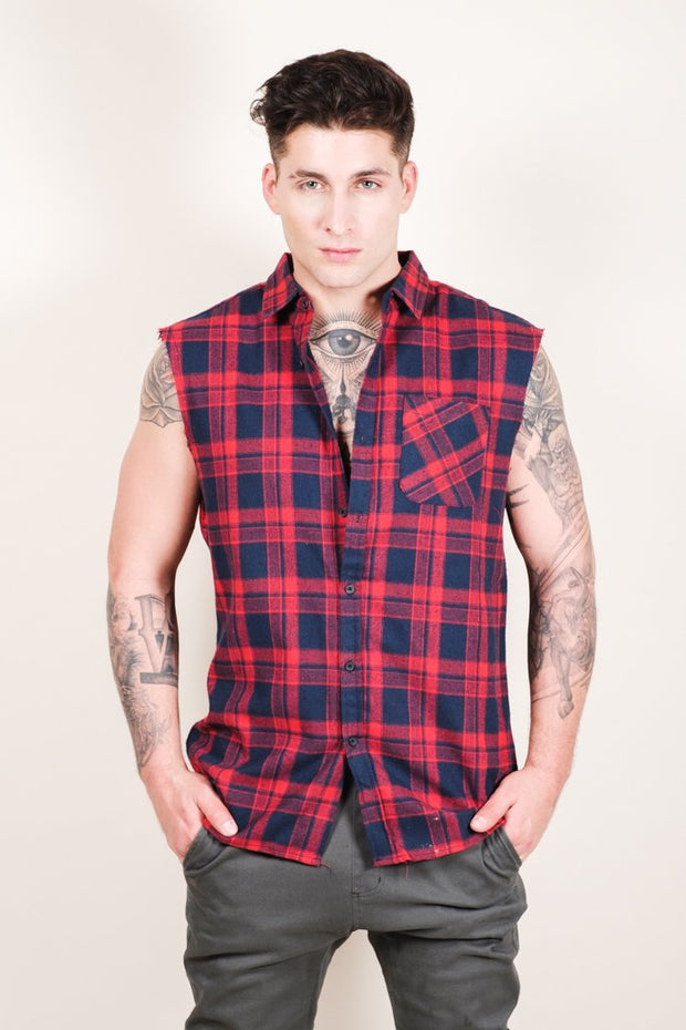 Men's Red Sleeveless Plaid Woven Shirt