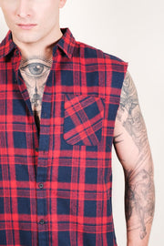 Red Sleeveless Plaid Woven Shirt